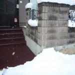 山形市住宅前階段融雪状況